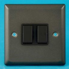 Varilight 2 Gang Intermediate 10A Rocker Light Switch Graphite 21 Black Insert XP77B